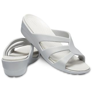 Crocs Γυναικεία Σανδάλια Sanrah Strappy Wedge Silver Pearl/White 204010-0L2