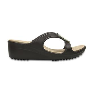 Crocs Γυναικεία Σανδάλια Sanrah Hammered Circle Wedge espresso/gold