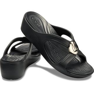 ΓΥΝΑΙΚΕΙΟ CROCS SANRAH LIQUID METTALIC WEDGE W Gunmetal/Black 205599-0FG